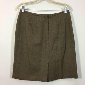 Vintage Kasper ASL Skirt Size 12 Tan Herringbone Wool Back Zip Lined Pencil