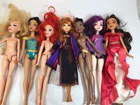 Disney Princess Doll Lot Of 7 Dolls