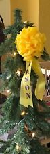 "Personalized Christmas Tree Ornament ~ Military ~ ONE Small 4"" YELLOW BOW"