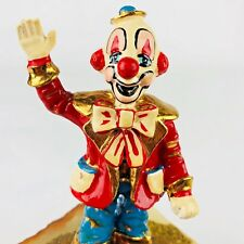 RON LEE Figurine Circus Happy Clown Waving 24K Gold Hand Signed