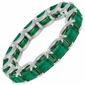 2ct Green Emerald Cut Wedding Band Ring Stylish Eternity 14k White Gold Over