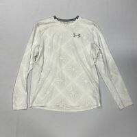 Under Armour Heat Gear Base Layer Long Sleeve Top White Mens Size UK L *REF156