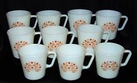 "10 Corelle Pyrex SUMMER IMPRESSIONS* GINGER BROWN FLOWERS *3 1/4"" COFFEE MUGS*"
