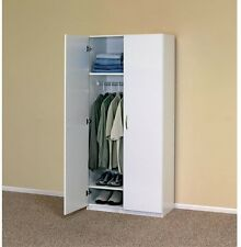 Portable Closet System White Wood Wardrobe Cabinet Clothes Organizer Bedroom New