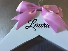 Personalised Wooden Wedding Dress Hangers - Bridal/Prom party - white