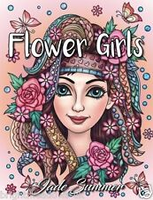 Flower Girls Beautiful Women Adult Colouring Book Faces Beauty Detail no Stress
