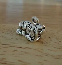 Sterling Silver 12x17mm ~ 3.4 gram Nice 3D Long Hair Pekingese Dog Charm