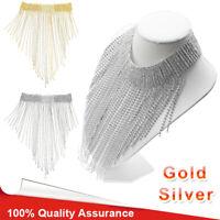 Women Crystal Statement Necklace Tassel Choker Collar Bib Jewelry Gift US Stock