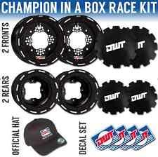"DWT Black Champion in a Box 10"" Front 9"" Rear Rims Beadlock Rings Raptor YFZ 450"