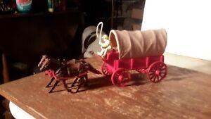 Marx Original RED WAGON w/TAN TOP WAGON TRAIN GUNSMOKE Western PLAYSET