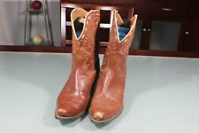 Vintage 1950's Red Women's? Leather Cowboy Boots. Marked Size 10. Wear & Scuffs.