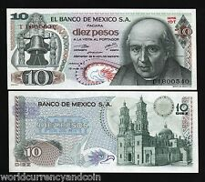 MEXICO 10 PESOS P63 1975 BELL UNC AMERICAS LATINO CURRENCY MONEY BILL BANK NOTE