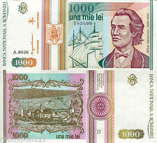 ROMANIA 1000 Lei Banknote World Paper Money Currency p102 1993 Europe Note Bill
