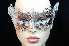 LASER CUT Venetian Masquerade Costume Ball Prom Party Wedding Silver Fox Mask