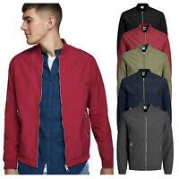 Mens Bomber Style Jacket Zip Up Long Sleeve Retro Classic Winter Casual Coat Top