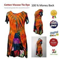 Festive Summer Tie Dye dress Boho Hippy Cotton Viscose Size 8-14 Brand New tags