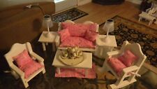 AMERICAN MADE 18 IN DOLL 15 PC. LIVING ROOM PARIS FABRIC PINK  GREY....