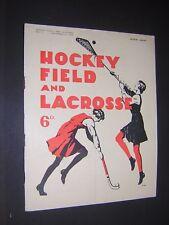 HOCKEY FIELD & LACROSSE. WOMEN'S SPORTS VINTAGE MAGAZINE. DEC 12th 1936