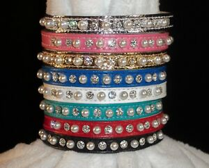 RHINESTONE BLING DOG Pet PUPPY COLLAR Petite Pearl & Crystal Jewel Size xs small