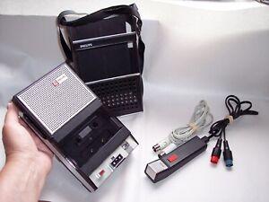 PHILIPS 1960s EL3302 PORTABLE CASSETTE TAPE RECORDER Microphone & Line Inputs