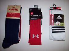 Adidas Levis Under Armour Socks Mens Select Brand Assorted Colors Quantity NIP