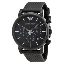 Emporio Armani Classic Chronograph Black dial Black Leather Men's Watch AR1737