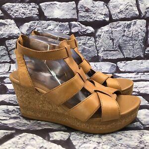 Clarks Collection Women Tan Brown Leather Cork Wedge Platform Sandals Size 12 M
