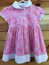 Lilly Pulitzer Pink Butterfly Print Dress White Trim Girls EUC Size 6-12 Months