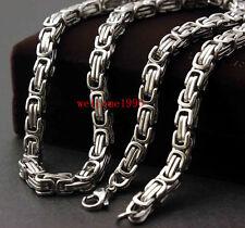 22'' 8mm Silver Stainless Steel Men's Byzantine Heavy Big Biker Necklace Chain