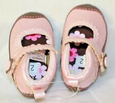CARTER'S Pink Brown Pearlized Girls Crib Shoes Sz 2 Mary Janes
