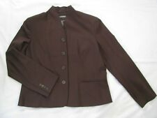 Ralph Lauren 16 Brown Wool Blend Blazer Jacket Chic Mandarin Style Collar NWOT