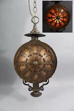 Antique Arts & Crafts Hammered Bronze & Mica Hanging Pendant Light Lamp Fixture