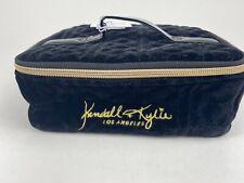 Kendall and Kylie Los Angeles Black Velvet Spacious Vanity Case /Makeup Bag new