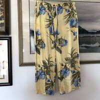 Jamaica Bay Yellow Tropical Floral Print Crop Pants Sz M A2356