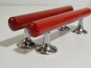 2 x Vintage Cherry / Red Amber Phenolic Catalin Bakelite Door pulls 17 cm