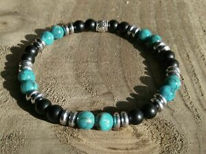 Mens/Ladies Gemstone Bracelet African Turquoise Agate Natural Stone Surfer Style