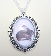 "Happy Easter Bunny Vintage Silver Plated 18"" Necklace New in Gift Bag"