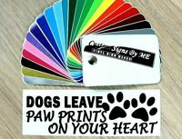 Dogs Leave Paw Prints On You Heart Car Sticker Vinyl Decal Adhesive Wall Laptop