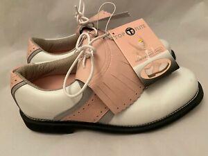 NWT  Top Flite Women's Sz 10 White Pink Grey Doral-Kiltie