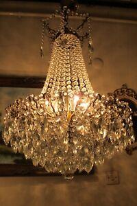 Antique Vintage French Spider style  Crystal Chandelier,Lamp,Light Lustre 1940's