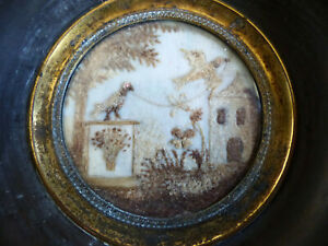 SUPERB ANTIQUE 19th CENT. SENTIMENTAL MOURNING HAIR ART w. TOMB & 2 BIRDS 1870's