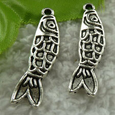 free ship 80 pcs tibet silver fish charms 37x9mm #3736