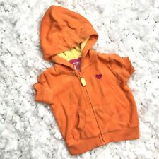 Carter's Toddler Girls Baby Cover Up Hoodie Short Sleeve Cotton Orange 3 Months