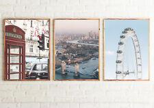 London  Set of 3 Bedroom Posters FRAMELESS Wall Art Prints Home Decor