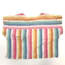 VTG Emily's Closet Crop Top L Pastel Rainbow Striped Snap Button Boxy Loose Fit