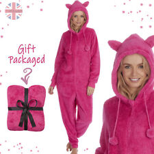 Womens Pink Fluffy Hooded Kigurumi Cosy One Piece Sleepsuit with Hood and Ears