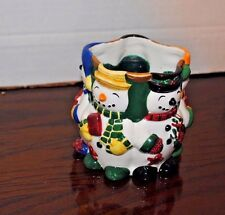 Fitz & Floyd ceramic Frosty the Snowman candle holder 3 3/4 inches tall