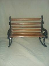 """Doll/Bear Park Style Black Cast Iron & Wood Rocking Bench6.5"""" Tall 8"""" Wide"""