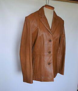 WILSONS LEATHER Pelle Studio Womens Genuine Leather Button Down Blazer Jacket  M