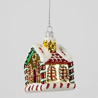 Colourful Glass Christmas Cottage House tree hanging Decoration Bright Bauble